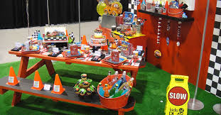 themed decorations get revved up for a cars 3 party bounceu