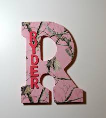 Camo Bedroom Decor by Pink Camo Custom Wall Letter Name Art Wall Letters Hanging