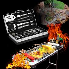 Outdoor Barbecue Bbq Set 19 Piece Stainless Steel Outdoor Barbecue Grill Cooking
