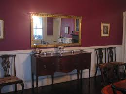 Colors For Dining Room Walls Painting A Room With A Chair Rail Used A Plum Colored Paint For