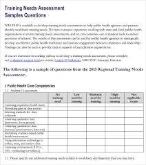 training needs analysis template form training needs assessment 13