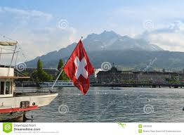 Boat Flag Mount View Of Lucerne From Lake Lucerne And Switzerland Flag Stock Image