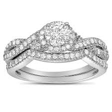 wedding ring sets uk 2 carat diamond infinity wedding ring set in white gold for