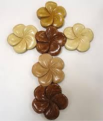 wooden wall crosses hawaiian wooden wall cross all plumeria flower