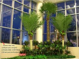 artificial indoor coconut palm trees in vacation apartment