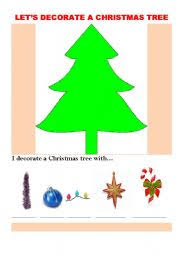 Decorate Christmas Tree Worksheet by English Teaching Worksheets Christmas Tree