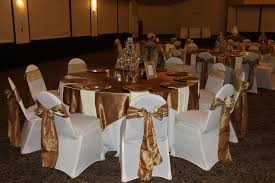 Linen Chair Covers Gold Table Runners And Gold Crinkle Sashes With White Table Linens