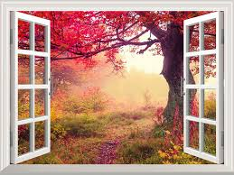 wall26 com art prints framed art canvas prints greeting removable wall sticker wall mural majestic view in fall beautiful autumn landscape out of the open window wall decorr 36