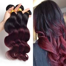 100 human hair extensions wave ombre hair two tone colored 1b 99j 100 human