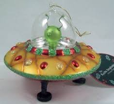 flying saucer with pilot ornament this glass