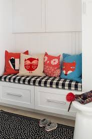 tradition mudroom bench with forest animal pillows traditional