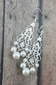 chandelier wedding earrings filigree earrings with pearls to match wedding dresses amanda