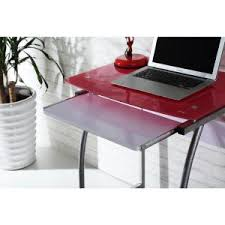 Pink Laptop Desk Hodedah Pink Glass Laptop Desk With Pull Out Keyboard Tray His818