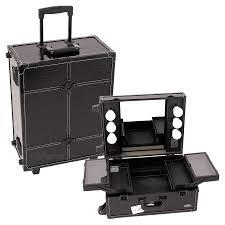rolling makeup case with lighted mirror sunrise tabletop makeup case with mirror and lights black