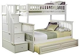Amazoncom Columbia Staircase Bunk Bed With Trundle Bed Twin - Twin over full bunk bed trundle