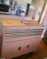 spray painting kitchen cabinets edinburgh transforms tool organiser into a pastel pink kitchen