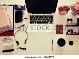 Computer Desk Gadgets Desk Gadgets And Office Supplies Flat Lay Wooden Background