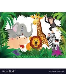 safari cartoon safari animal cartoon royalty free vector image