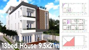 3 Story House Plan 9 5x21m With 13 Bedrooms