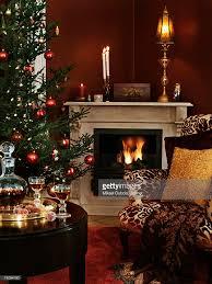 Christmas Livingroom by Livingroom With A Fireplace And A Christmas Tree Stock Photo