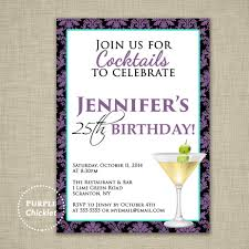 25th birthday invitation purple turquoise cocktail party