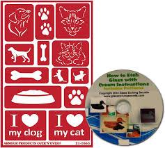 amazon com cat u0026 dog glass etching stencils reusable paws pet
