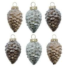 6ct pinecone glass ornament set wondershop