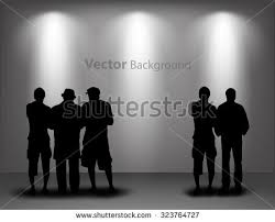 silhouettes looking on empty gallery stock vector 85426135