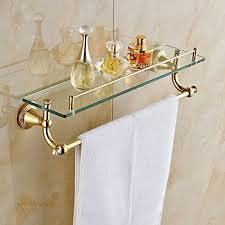 Bathroom Glass Shelves With Towel Bar Gold Finish Bathroom Glass Shelf Wall Mount Cosmetic Holder With