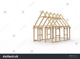 3d cad model wooden house frame stock illustration 487281211