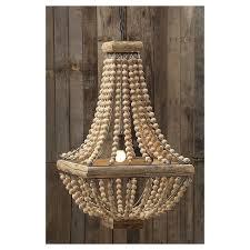 wood bead ceiling light metal chandelier with wood beads target