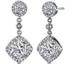 dangling diamond earrings cushion diamond dangling earrings jewels