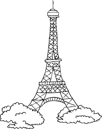 eiffel tower sketch outline wall sticker tenstickers