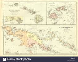 Fiji Islands Map Papua New Guinea Kaiser Wilhelmsland Irian Jaya Hawaii Fiji Stock