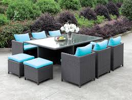 Wicker Patio Dining Chairs by Ashanti Contemporary Style Turquoise Fabric U0026 Light Brown Wicker