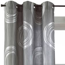 White And Grey Curtains Focus Grommet Top Curtain Panel