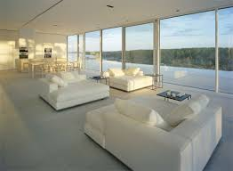 white sofas dining kitchen open plan stunning lake house in
