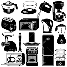 collection of kitchen appliances on white background royalty free