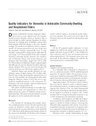 quality indicators for dementia in vulnerable community dwelling