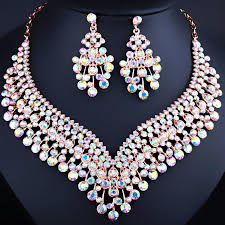 necklace sets wholesale images Luxury thin gold plated wholesale price crystal flower earrings jpg
