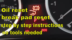 bmw 5 series brake pad reset oil reset and service reset youtube