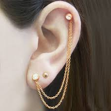 earring with chain to cartilage gold earrings chain earrings stud earrings ear