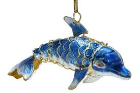 articulated cloisonne enameled dolphin ornament animal emporium