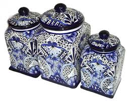 blue kitchen canisters kitchen talavera canister set item 101842