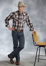 Big And Tall For Mens Clothes Roper Mens Big U0026 Tall Brown Hawthorne Plaid Long Sleeve Snap