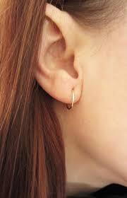 gold sleeper earrings 12mm 4 8 solid 10k yellow gold small sleeper hoop earrings
