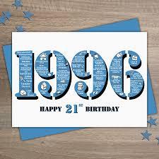 21 birthday card design 1996 plain mens happy 21st birthday card
