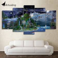 online shop hd printed 5 piece canvas art abstract fairy tale online shop hd printed 5 piece canvas art abstract fairy tale wonderland painting wall pictures for living room free shipping cu 2254c aliexpress mobile