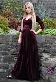 christmas party dress evening maxi dress velvet burgundy montyq