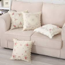 Sofa Cushion Slipcovers Pink Flowers Embroidered Pillow Cover Pastoral Style Sofa Cushion